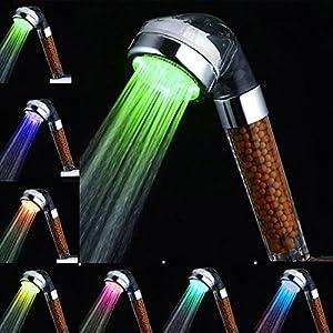 Amison – Alcachofa de ducha LED con cambio de color, ahorro de agua, con 7 colores, temperatura automática, alta presión…