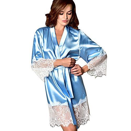 Fenverk Frau Sexy Die Seide Kimono Dressing Puppe Spitze Dessous Bad Robe NachtwäSche Schlafkleid Nachthemd Nachthemden Schlafhemd Pyjama Nighty Damen Neglige(Hellblau,S)