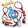 KEPLIN Dog/Puppy Chew Toys, Teething, Training - 10pcs Dog Rope Toys 100% Natural Cotton Rope for Small/Medium/Large Dogs (Style 2)