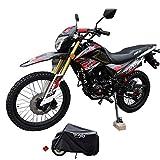 X-Pro Hawk DLX 250 EFI Fuel Injection 250cc Endure Dirt Bike Motorcycle Bike Hawk Deluxe Dirt Bike Street Bike Motorcycle with Motorcycle Cover, Bluetooth Speaker and Phone Bracket,Red