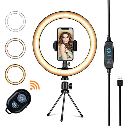 LED Ring Light with Tripod Stand,VillSure 10' Selfie Ring Light Makeup Ring Light for YouTube Video, Photography, Shooting with 3 Light Modes and 10 Brightness Level Compatible with iPhone/Android