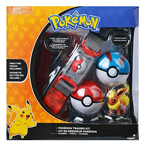 anzhcz Kit De Entrenador De Pokemon Flareon Pyroli Flamara Figura Bolsa Tipo Fuego Poke Balls Cinturón Ajustable
