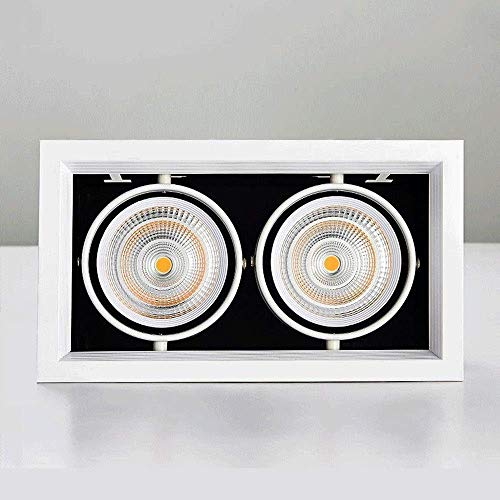 L.BAN Panel Techo LED Doble Cabezal 7 W, Foco Montaje Empotrado superbrillante,...