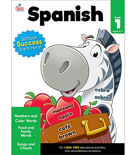 Carson Dellosa Beginning Spanish Workbook—Grade 1 Spanish Learning for Kids, Spanish Vocabulary Builder With Numbers, Colors, Songs, Common Words (80 pgs) (Brighter Child: Grades 1)