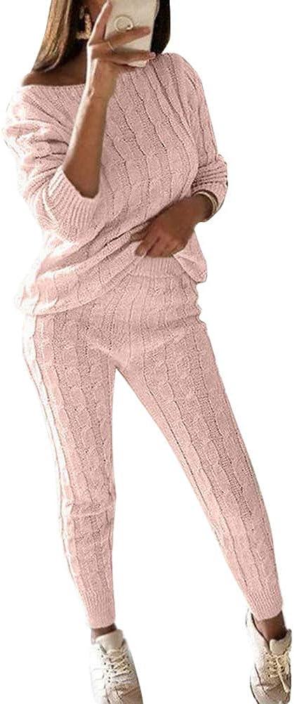 ORANDESIGNE Donna 2 Pezzi Tuta da Ginnastica Sportiva Tuta Jogging Manica Lunga Maglieria Pullover Felpa Top E Pantaloni Loose Fit Streetwear