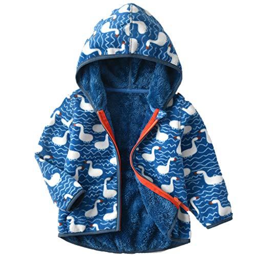 Bebé Niños Chaqueta de Lana Niñas Cremallera Caliente Abrigo con Capucha Primavera de Manga Larga Ropa de Calle Azul 1-2 Años