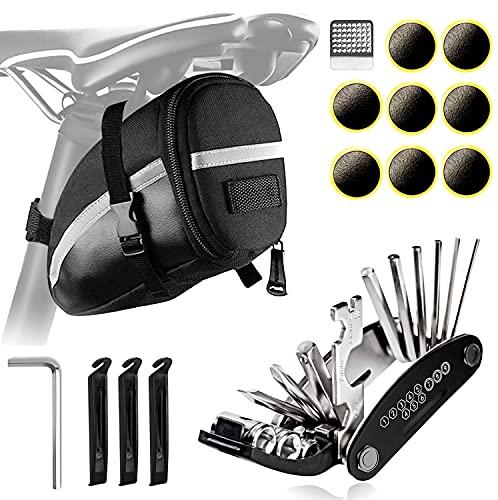 AmzKoi Fahrrad Werkzeug Set, Fahrrad Reparatur Set mit Satteltasche, Multitool Fahrrad 16 in 1 Leicht und steif und Reifen Reparaturset für Fahrrad MTB Rennrad