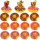 HansGo Inflatable Drink Holder, 12 PCS 8 Inches Donuts Floating Coasters 3 Color Doughnut Drink Floaties for Pool Party Water Fun