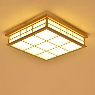 JINWELL LED Ceiling Light Wood Lamp Square Wood Lamp Oak Ceiling Lamp Bedroom Modern Dimming Lamp Ceiling Light Retro Wood Ceiling Lamp Japanese Style Delicate Crafts 55x55x12cm 32w