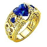 Cwemimifa Ring 925 Silber Bandring Herrenring Damenring Silberring Ringschiene, Silber Natürliche Rubin Edelsteine Birthstone Braut Hochzeit Verlobungsherz Ring BU, Blau, 8#
