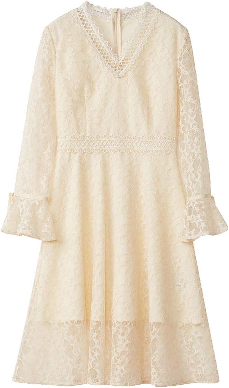 HECHEN Spring Women's DressElegant Sweet Trumpet Sleeve V-neck Long SleeveFive-pointed Star Lace Dress