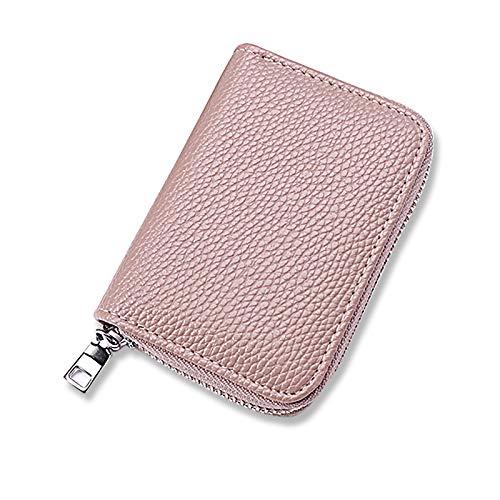 BUXKR カードケース 小銭入れ 名刺入れ カード入れ カードホルダー 本革 磁気防止 大容量 レディース メンズ クレジットカードケース (ピンク)