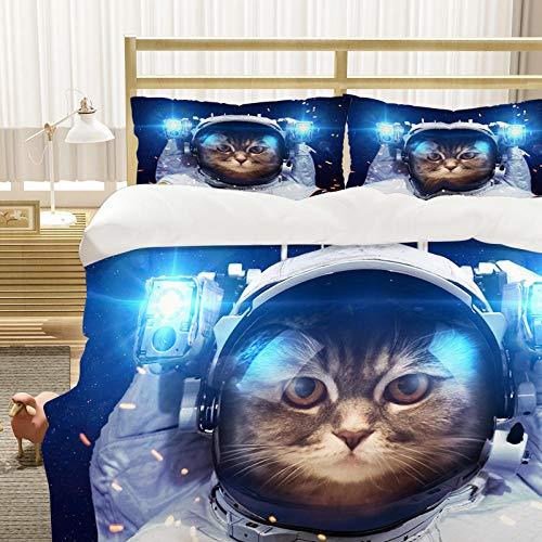 Bedclothes-Blanket Cubierta de la Cubierta del edredón para niños 3D Cubierta de Cama de 3 Piezas Super King Tamaño Animal Cat Blue Eye Eye Eye Funda de Cama con Cierre de cremallera-11_200 * 200 cm