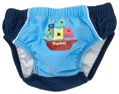 Playshoes Baby - Jungen Babybekleidung/ Badebekleidung UV-Schutz 50+ Badehose Basic blau mit Schiff und Windeleinsatz 460004, Gr. 74/82, Blau (900 original)
