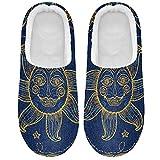 Linomo Zapatillas étnicas con cara de luna de sol para mujer,...