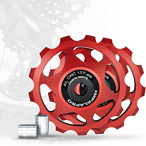 IMPALAPRO Bike Set 2 Roldanas Ceramicas 13T Desviador Trasero Bicicleta - Rueda Jockey Cambio Trasero - Roldanas 13T - Polea Bicicleta - Jockey Wheel - Rodamiento Cerámica - Roldanas MTB (Rojo)