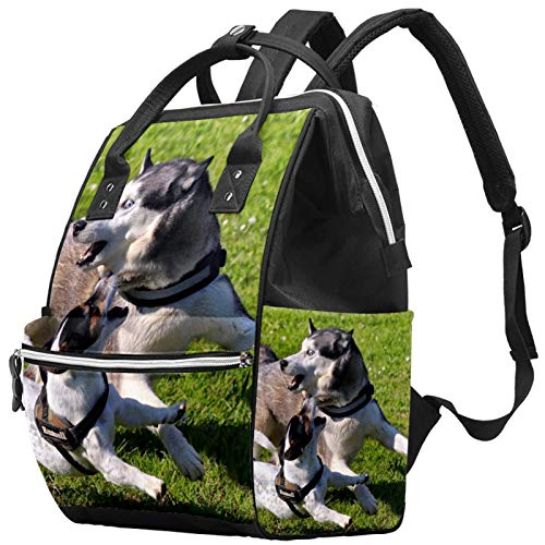Mummy Changing Bag Multi-Function Laptop Backpack Waterproof Diaper Bag Travel Nappy Tote Bags Doctor Bag School Daypack - Playing Husky