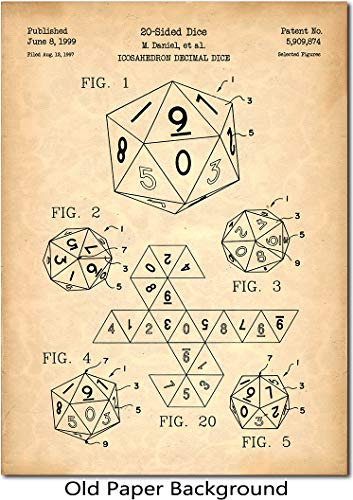 20-Sided Dice Set Patent Print Art 1999 for Dungeons & Dragons, D&D, Pathfinder, Role Playing Enthusiasts
