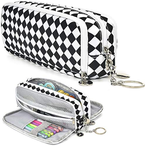 HERRIAT Large Pencil Pouch with Keychain, Durable Canvas Big Capacity Pencil Case Bag for Teen Boys Girls High School Students and Office Suppliy with 3 Compartments Marker Case(White Grid)