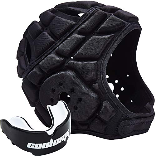 COOLOMG Soft Padded Rugby Headgear 7v7 Soft Shell Head Protector Helmet + 1PC Mouth Guard Tooth Protect Braces Adjustable Football Soccer Goalie Helmet Support Youth Adults