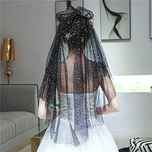 LK-HOME Hochzeitsschleier,1,35 * 1,5 m schwarz Sexy minimalistisch eleganter Stern Pailletten Schleier, geeignet für Abschlussball Styling Party Halloween Weihnachten cos