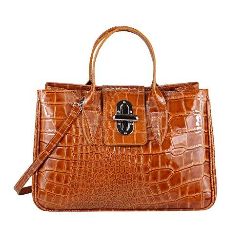 OBC Made in Italy Damen Echt Leder Tasche Kroko-Prägung Business Shopper Aktentasche Schultertasche Handtasche Ledertasche Umhängetasche Tote Bag (Cognac (Lack-Leder))