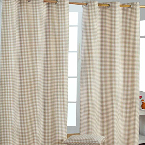 Homescapes handgewobener Vorhang Ösenvorhang Dekoschal Gingham im 2er Set, 137 x 228 cm, 100prozent Reine Baumwolle, beige weiß kariert