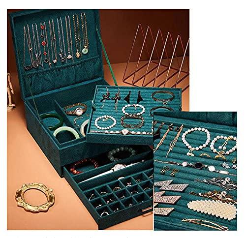 RXSHOUSH Caja de anillo de joyería grande organizador de almacenamiento de terciopelo de 3 capas cajón boda terciopelo caso joyería con anillos de bloqueo pendientes collar reloj embalaje regalo verde