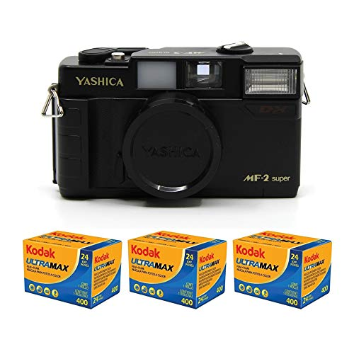 Yashica MF-2 Super 35mm Film Camera with 38mm f/3.8 Lens by Kokoti (Black) and (3) Kodak GC/UltraMax 400 Film Rolls Bundle (4 Items)