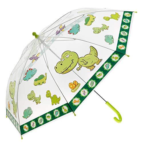 Idena 50049 - Kinderregenschirm für Jungen und Mädchen, mit putzigem Dinosauriermotiv auf transparentem Kunststoff, Durchmesser ca. 83 cm, Länge ca. 66 cm