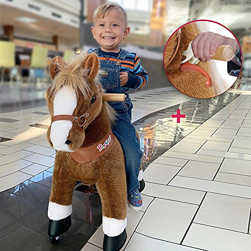 PonyCycle Model U-2021 Ride on Horse Toy Plush Walking Animal Brown Horse Medium Size for Age 4-9 Ux424