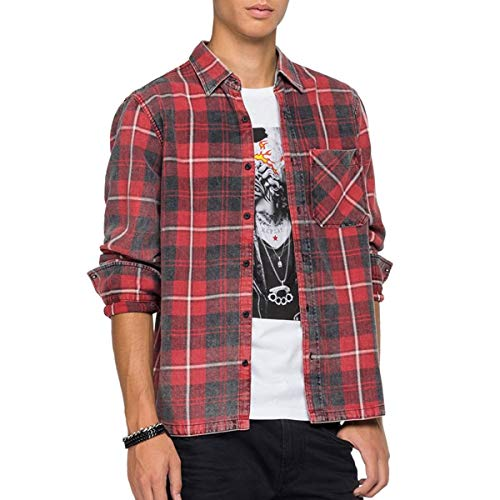 REPLAY M4054 Camisa, 010 Rojo/Negro, L para Hombre
