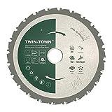 TWIN-TOWN HM Lame de scie circulaire multifonction 210 x 30 mm 24 dents Idéal pour bois, bois avec clous, acier, aluminium, acrylique, plastique, stratifié et MDF pour sciage avec scie à onglets