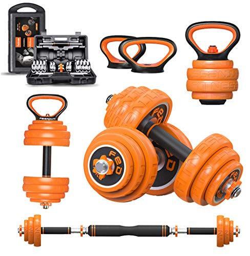 CHAIJY Multifunctional Adjustable Dumbbells Set,Exercise Barbell Weight Sets with Kettlebell Handle,33LB Home Fitness Gym Equipment with Storage Box for Men Women
