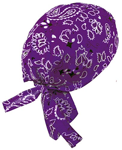Paisley Doo Rag Du Rag Do Cotton Bandana Headwrap PICK COLOR Chemo Cap (Purple Paisley II)