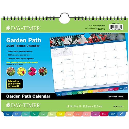 DayTimer Garden Path Monthly Tabbed Wall Calendar 2016, Wire Bound, 8.5 x 11 Inches (113571601)