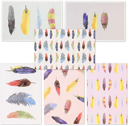 Blank Greeting Cards with Envelopes, Watercolor Feather (4 x 6 in, 48-Pack)