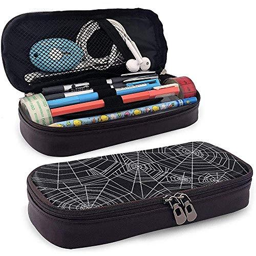 Estuche de lápices de tela de araña abstracta de cuero de Halloween - Estuche de lápiz Organizador de papelería Bolsa de maquillaje, soporte perfecto