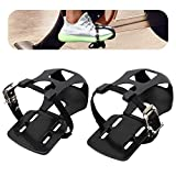 Adjustable Pedal Adapter Metal Pedals Toe Clips Cage with Straps for Peloton Bike(Not Compatible with Peloton Bike +)