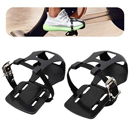 Adjustable Pedal Adapter Metal Pedals Toe Clips Cage with Straps