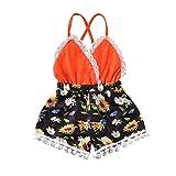 Baby-Strampler für Mädchen, Sommer, Baumwolle, ärmellos, mit Schnürung, Kleid für Mädchen, kurze Shorts, Blumendruck, Kleidung, Party, Urlaub (0 – 3 Jahre), Orange 3-6 Monate