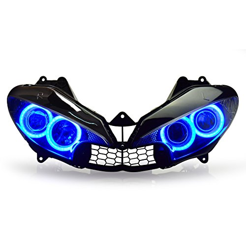 KT LED Headlight Assembly for Yamaha R6 2003 2004 2005 Blue Angel Eye