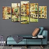 Dsromhgqi 5 impresiones en lienzo 200x100cm Venecia ciudad del agua vintage pintura al óleo Impresiones en lienzo moderno estirado y enmarcado Imágenes artísticas de pared Obra de arte para decorac