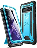 YOUMAKER Case for Galaxy S10, Built-in Screen Protector Work with Fingerprint ID Kickstand Full Body Heavy Duty Protection Shockproof Cover for Samsung Galaxy S10 6.1 inch (2019) - Blue/Black
