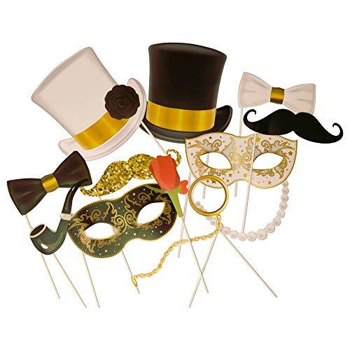 trendaffe Glamour Party Photo Booth im 12er Set - Foto Verkleidung Foto Requisite