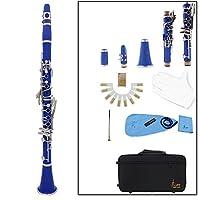 Rakuby 初心者11点入門セット ABS &キュプロニッケルメッキニッケル セッ クラリネット ソプラノ 17キー B♭フラット ABS 10リード 管楽器