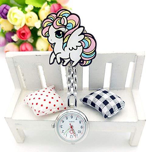 Cxypeng Relojes Bolsillo Médico Enfermera,Estilo de Dibujos Animados de Animales Luminosa Enfermera Mesa Clip Pecho Bolsillo Reloj-Gris,Reloj de Enfermera Fob