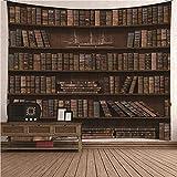 KnBoB Tapiz Pared Decorativo Librería Vintage 200x200 CM Tejido Poliester Anti Arruga Decoracion Habitacion