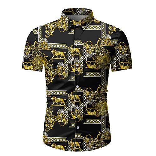 Camisa de Cuello Vuelto para Hombre Camisa de Manga Corta Informal con Estampado Retro Camisa de Calidad de Verano de Moda Ajustada Regular 3X-Large