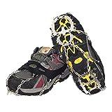 IMIKEYA Tacos de Tracción 18 Dientes Hielo Antideslizante Agarres de Nieve Clavos Calzado Calzado Seguro Cubierta de Zapato Proteger Crampones para Correr Escalada Senderismo (L)